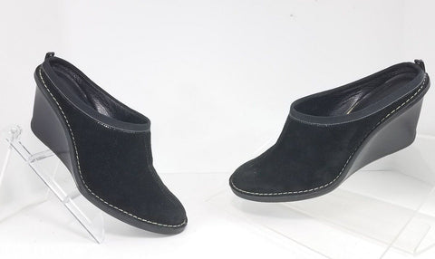 Cole Haan Wedge Platform Black Suede Women Clogs/Mules Size 9 B