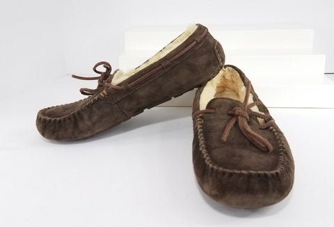 UGG Dakota Brown Moccasin Slippers Women Fashion Casual Shoes Size 8