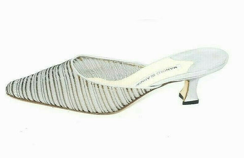 Manolo Blahnik Women Clogs/Mules Kitten Heel Stripe Grey Womens Size 39 US 9 Italy