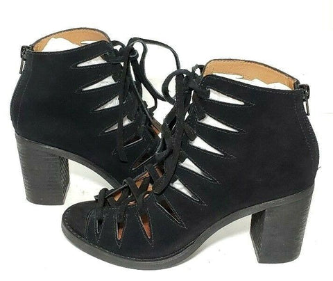 Jeffrey Campbell Corwin Booties Womens Heel Lace Up Size 6.5 Black Cut Out