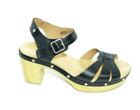 Clarks Womens Ledella Trail Sandals Heeled Leather Black US 6.5M