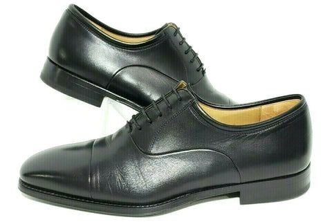 Magnanni Federico Mens Oxfords Cap Toe Shoes Black Leather Size 9D Excellent