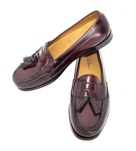 Cole Haan Pinch Tassle Cordovan Burgundy Leather Men Loafers Size 7.5D