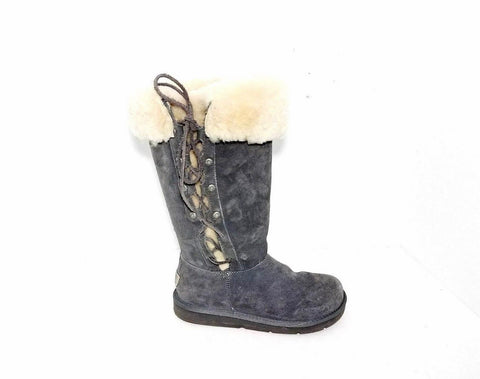 UGG Upside Tall Suede Leather Ties Laces Sheepskin Gray Women Fashion Boots 6M