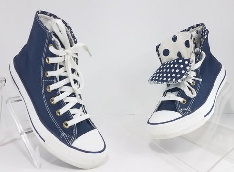 All Star Converse Chuck Taylors Navy/White Polka Dot Double Tongue Women Sneakers Size 7