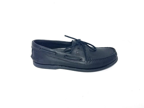 Sperry Top Sider 2 Eye Black Leather Boat Men Casual Shoes 10.5