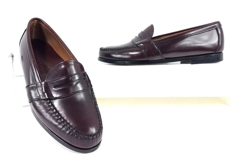 Heartland Handcrafted Genuine Leather Burgundy Penny Loafers Men Loafers Size 8.5W