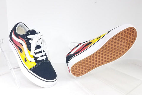 Vans Old Skool Flame Black/Red/Yellow Children Athletic/Sneakers Size Girl 5 /Boy 3.5