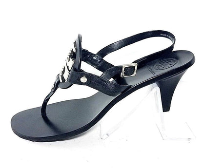 cf4a29d2f82a Tory Burch T Strap Thong Black Leather Miller Women Fashion Sandals Size 9.5