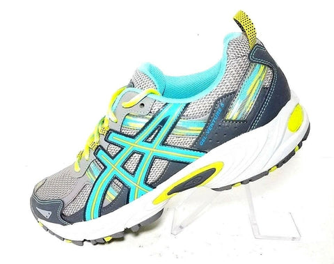 Asics Womens Gel Venture 5 Gray Turquoise Lime Trail Running Shoe Size 10