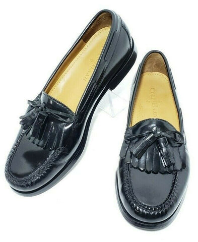Cole Haan Pinch Shawl Tassel Black Leather Kiltie Moc Toe Men Loafers Shoes 8