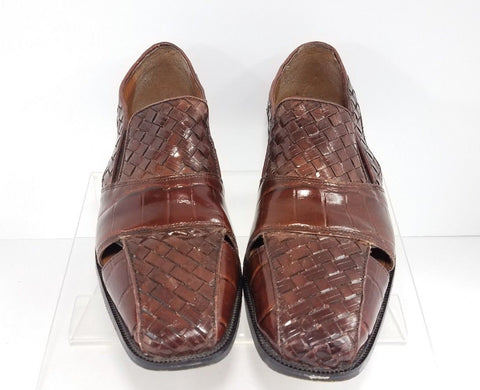 Stacy Adams Brown Leather Woven Men Casual Shoes Sandals Size 11M