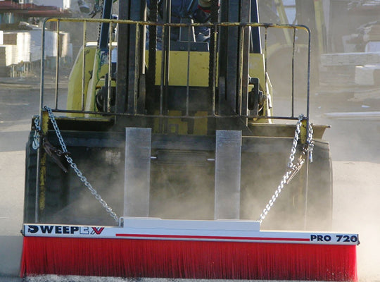 Sweepex forklift broom being used on jobsite