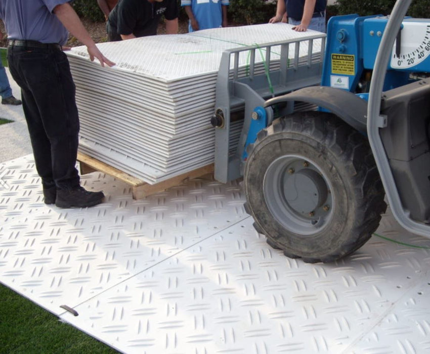 Duradeck installation - white ground protection mats