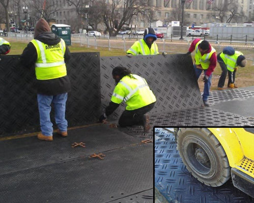 Ground Protection Mats Being Connected Together