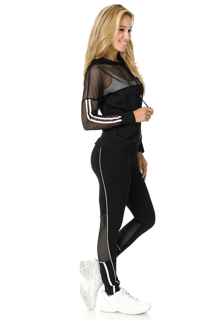 High Waist Summer Mesh Contour Gym Suit - Stretch Lane