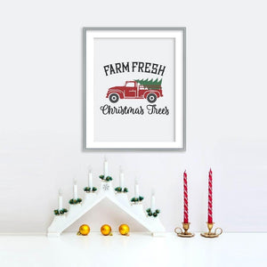 Farm Fresh Christmas Trees with Truck Poster | Printable Instant Digital Download Sign | Christmas