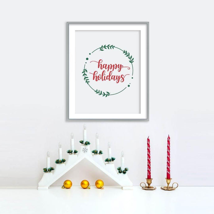 Happy Holidays Poster | Printable Instant Digital Download Sign | Christmas