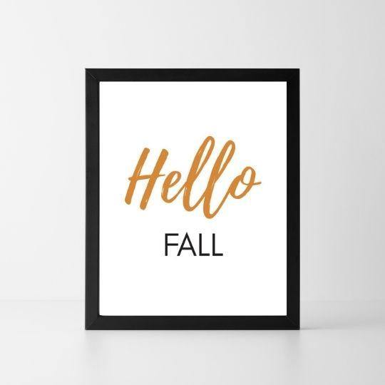 Hello Fall | Printable Instant Digital Download Sign | Fall