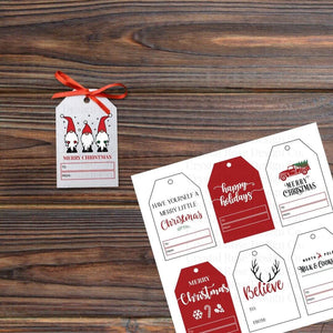 Red Printable Christmas Gift Tags | Printable Instant Digital Download