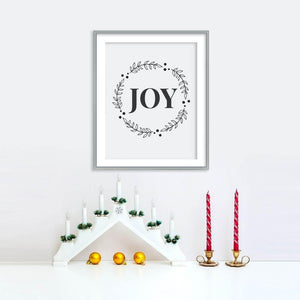 Joy Wreath Holiday Poster | Printable Instant Digital Download Sign | Christmas