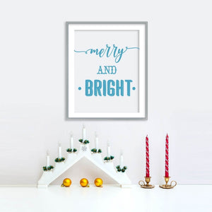 Merry and Bright Blue Holiday Poster | Printable Instant Digital Download Sign | Christmas