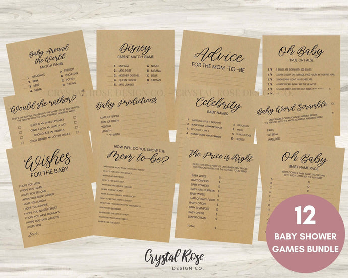 Rustic Baby Shower Games | Baby Shower Games Bundle | Baby Shower Games | Printable Baby Shower Games