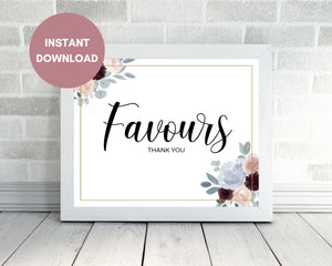 Printable Dusty Blue and Burgundy Wedding Favours Sign, Instant Download, Printable Wedding Favours Sign
