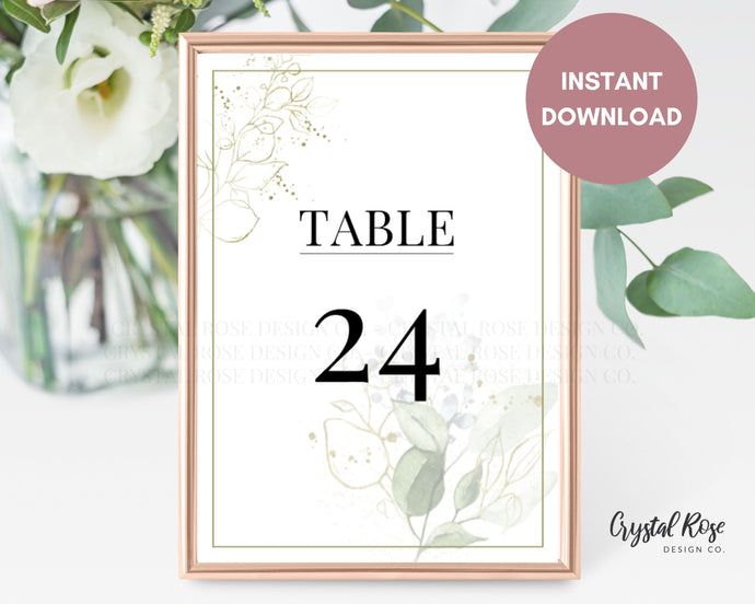 Sage Greenery Table Numbers | DIY Printable Wedding Table Numbers | Wedding Template