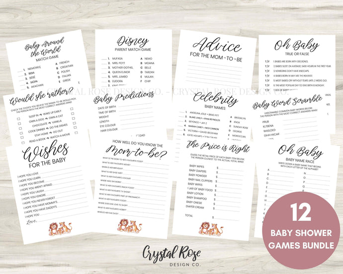Lion Baby Shower Games | Baby Shower Games Bundle | Baby Shower Games | Printable Baby Shower Games