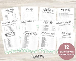 Baby Shower Games Greenery | Baby Shower Games Bundle | Baby Shower Games | Printable Baby Shower Games