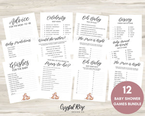 Giraffe Baby Shower Games | Baby Shower Games Bundle | Baby Shower Games | Printable Baby Shower Games