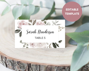 Vintage Pink Florals Rustic Wedding Place Cards, Instant Download, Printable Wedding Place Cards