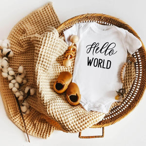 Hello World Baby Arrival Announcement Onesie - Crystal Rose Design Co.
