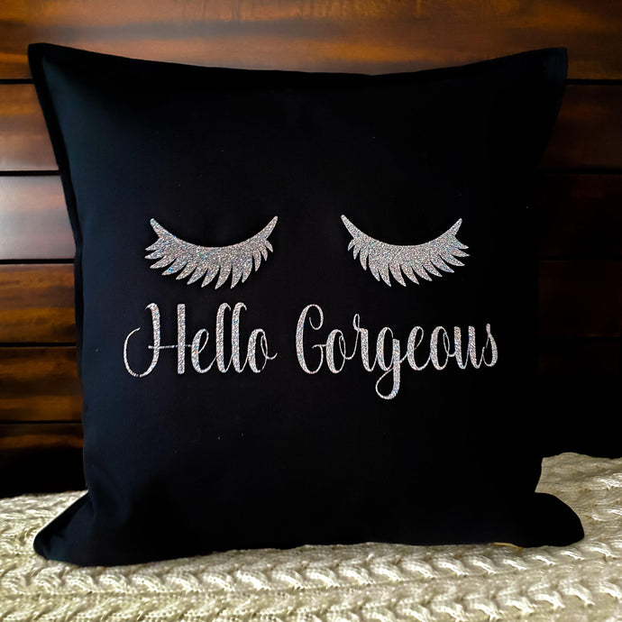 Lashes Hello Gorgeous Pillow | Pillow Cover | Cushion Cover - Crystal Rose Design Co.