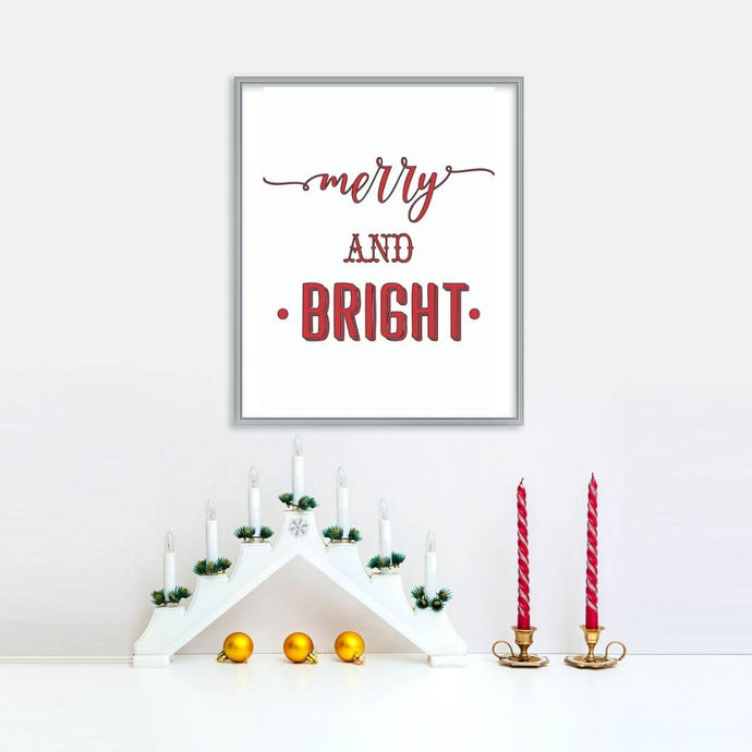 Merry and Bright Red Holiday Poster | Printable Instant Digital Download Sign | Christmas