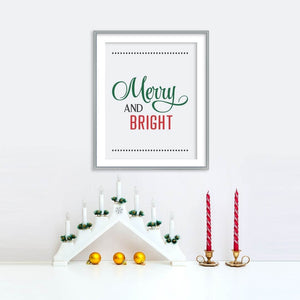 Merry and Bright Holiday Poster | Printable Instant Digital Download Sign | Christmas