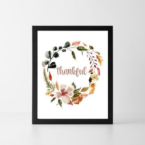 Thankful Floral Wreath | Printable Instant Digital Download Sign | Fall