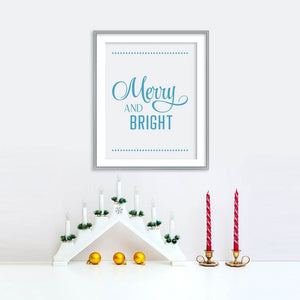 Merry and Bright Holiday Poster - Blue | Printable Instant Digital Download Sign | Christmas