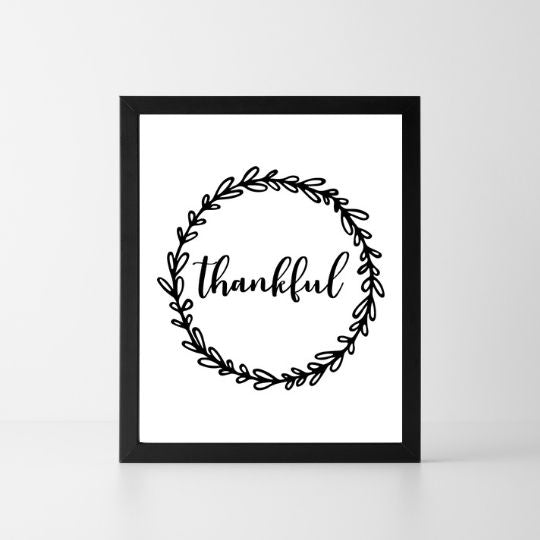 Thankful Wreath | Printable Instant Digital Download Sign | Fall