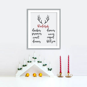Rudolph and Reindeers Poster | Printable Instant Digital Download Sign | Christmas