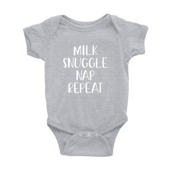 Milk Snuggle Nap Repeat Onesie - Crystal Rose Design Co.