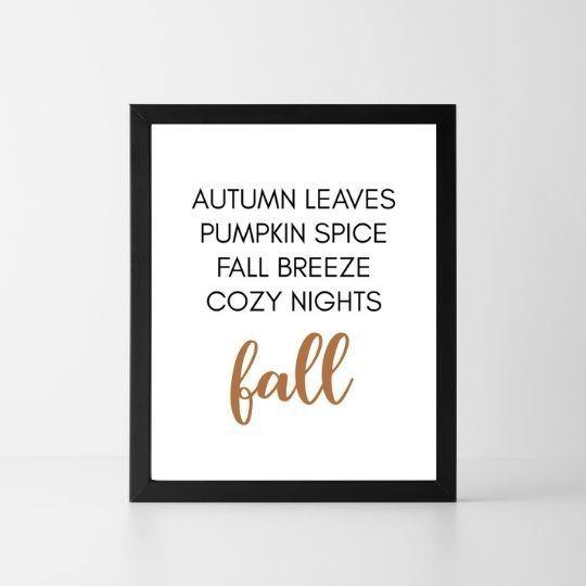 Autumn Leaves Pumpkin Spice Fall Breeze | Printable Instant Digital Download Sign | Fall - Crystal Rose Design Co.