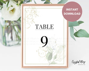 Sage Green Table Numbers | DIY Printable Wedding Table Numbers | Wedding Template
