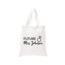 Load image into Gallery viewer, Personalized Future Mrs Tote Canvas Bag