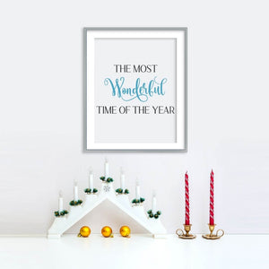 The Most Wonderful Time of the Year Poster - Blue | Printable Instant Digital Download Sign | Christmas