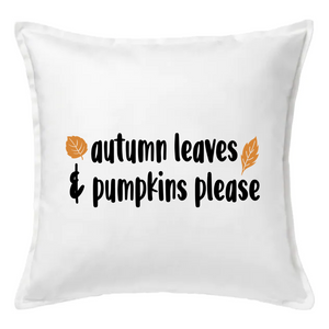 Autumn Leaves & Pumpkins Please Pillow | Pillow Cover | Cushion Cover