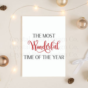 The Most Wonderful Time of the Year Poster - Red | Printable Instant Digital Download Sign | Christmas