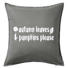 Load image into Gallery viewer, Autumn Leaves & Pumpkins Please Pillow | Pillow Cover | Cushion Cover