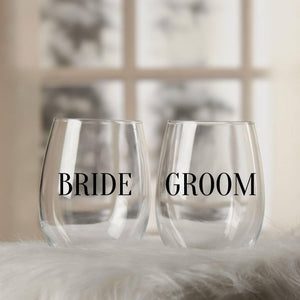 Bride and Groom Wine Glass Set